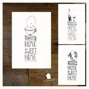 """Image of 3 Cartes Sérigraphiées """" HOME SWEET HOME"""""""