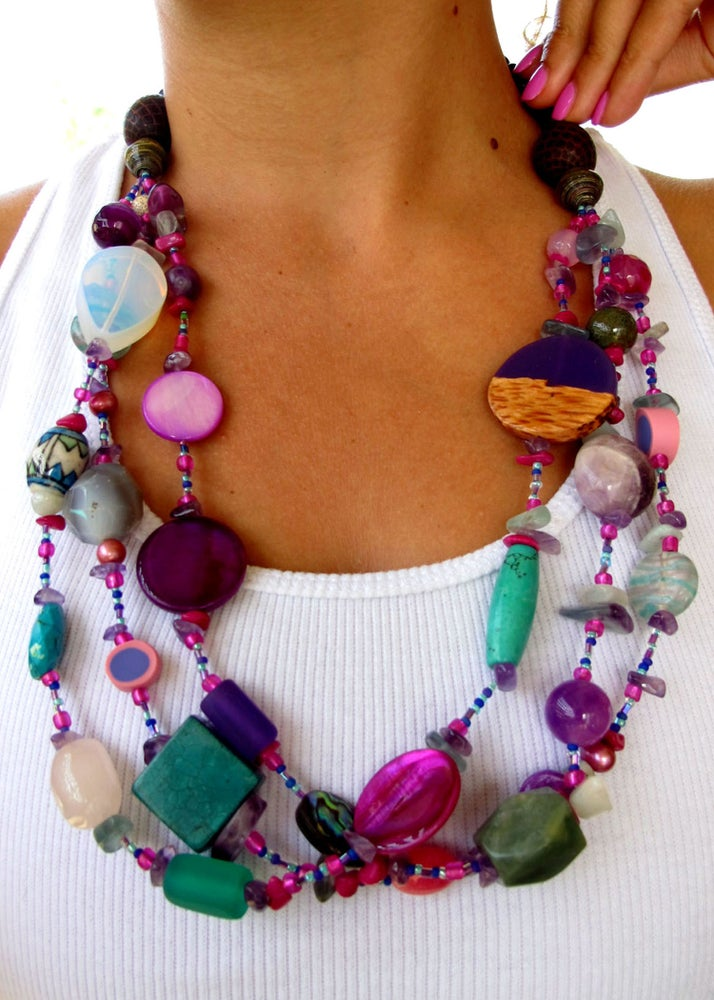 Image of Three Strand Hand Beaded Necklace - Vibrancy