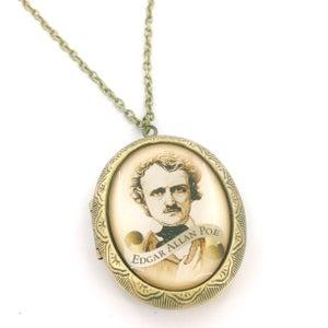 Image of Edgar Allan Poe Scroll Cameo Locket Necklace