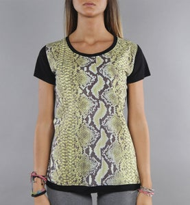 Image of COMING SOON - BIGWIG T-shirt donna gialla con stampa effetto Snake Python