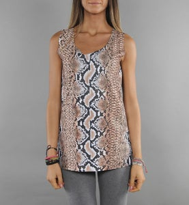 Image of COMING SOON - BIGWIG Top donna rosa con stampa effetto Snake Python