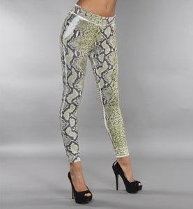 Image of COMING SOON - BIGWIG pantaloni lunghi gialli con stampa effetto SNAKE