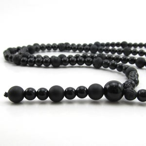 Image of Black Agate beaded rosary necklace