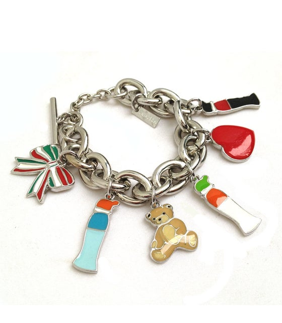 Image of SOLD OUT MOSCHINO AUTHENTIC Silvertone CHARM Bracelet