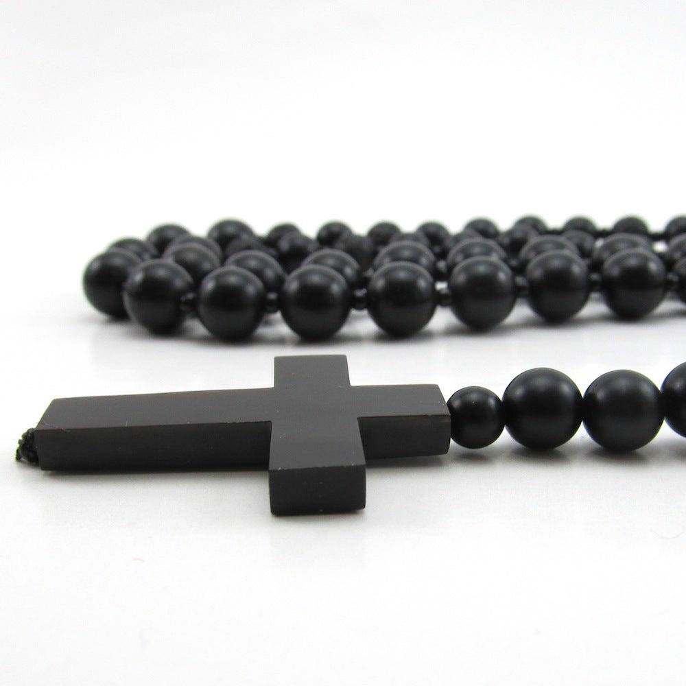 Image of Black Matt onyx beaded rosary necklace