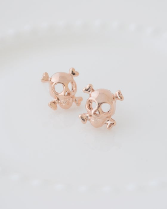 Image of Cool Rose Gold Skull Earrings
