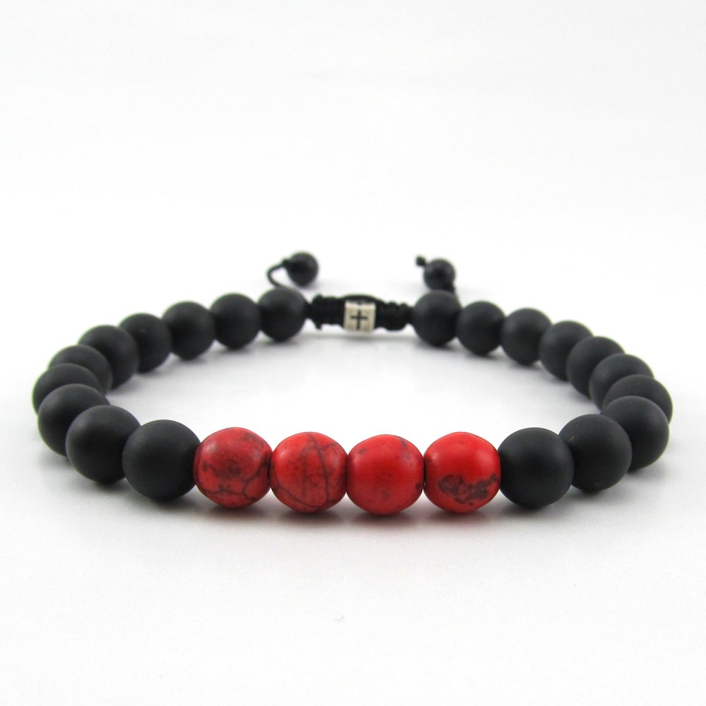 Image of Matt hematite and red howlite adjustable personalised bracelet