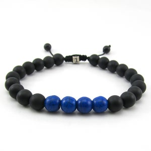 Image of Matt hematite and blue howlite adjustable personalised bracelet