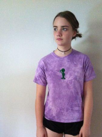 Image of Purple tie dye alien shirt