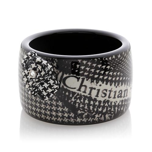 Image of SOLD OUT Christian Dior Authentic Houndstooth Logo Wide Bangle Bracelet