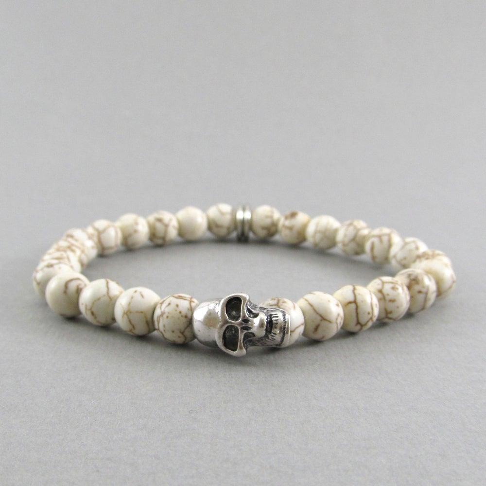 Image of White howlite and skull beaded bracelet