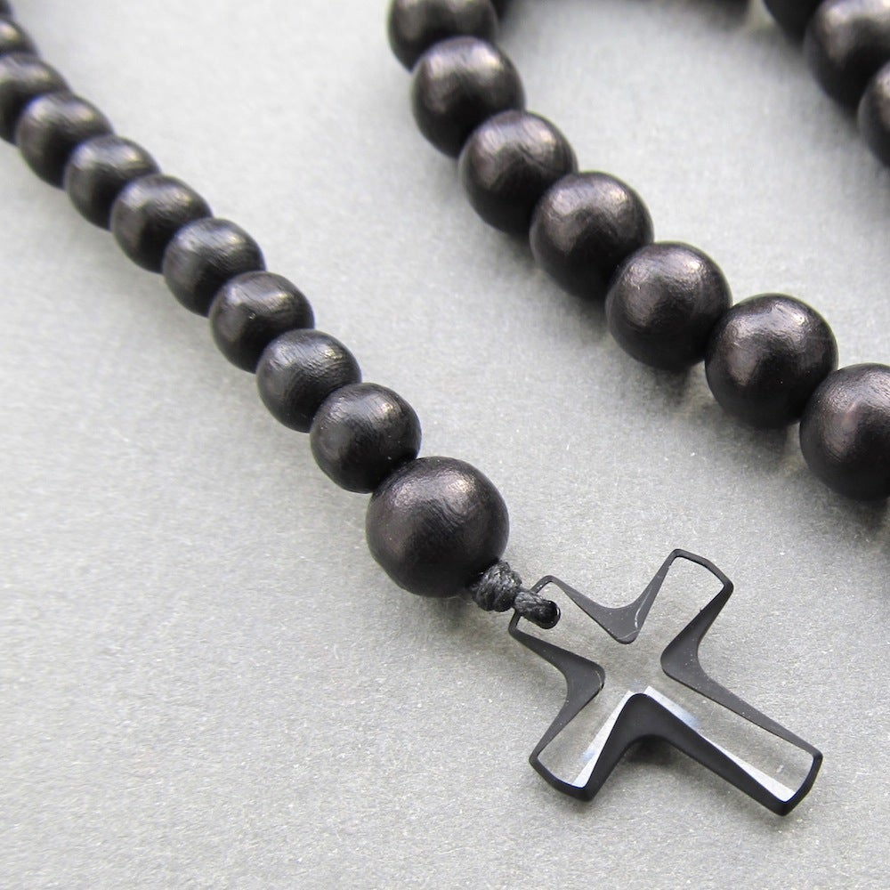 Image of Black Wooden Beaded Rosary With Small Crystal Cross