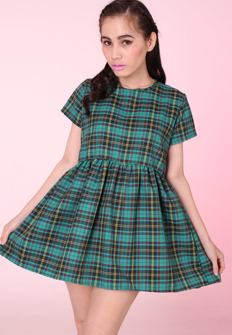Image of Green Tartan Baby Doll Mini Dress