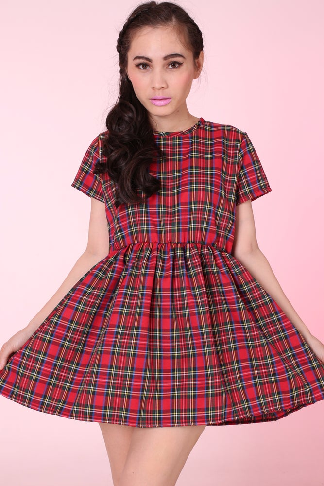 Image of Made To Order -Red Tartan Baby Doll Mini Dress