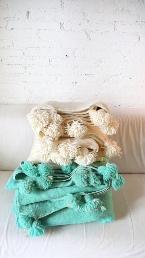 Image of Moroccan POM POM Wool Blanket Ecru - Small