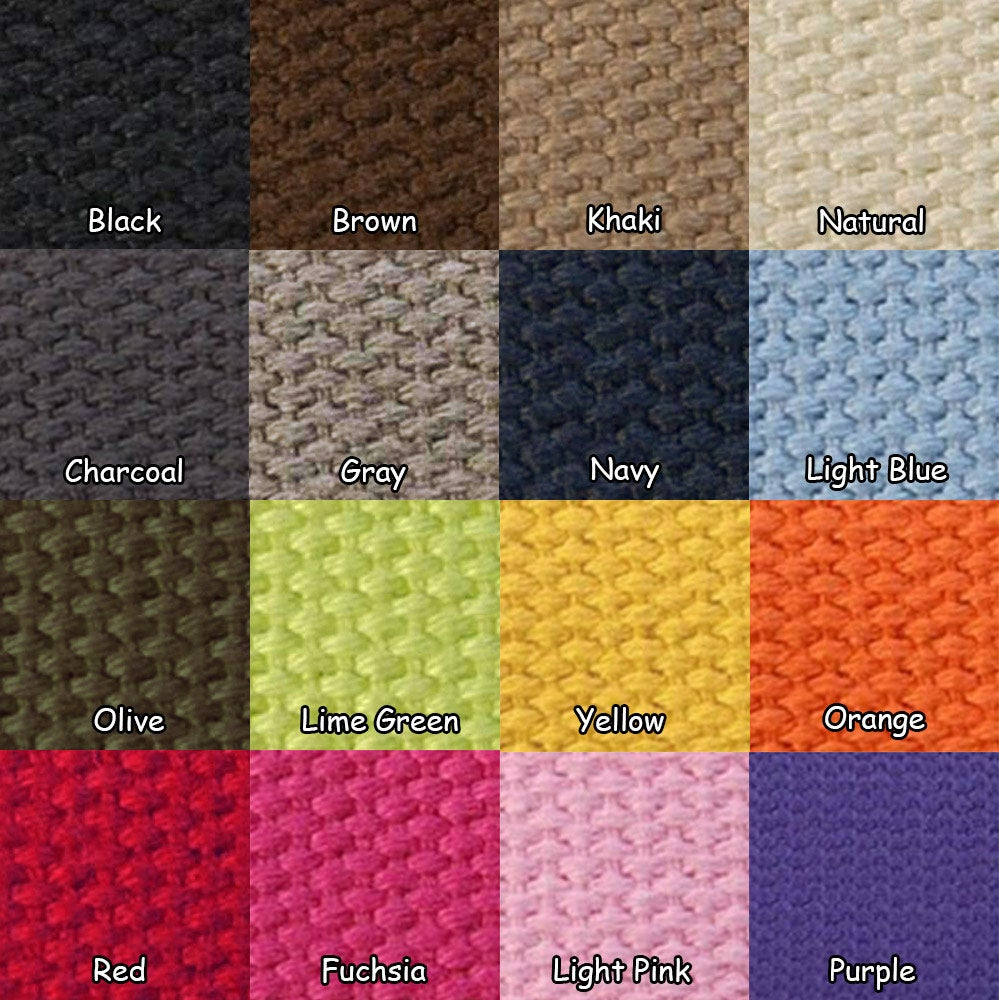 "Image of Cotton Canvas Webbing Strap - Adjustable - 1.5"" Wide - Choose Color, Length & Nickel/Black #19 Hooks"
