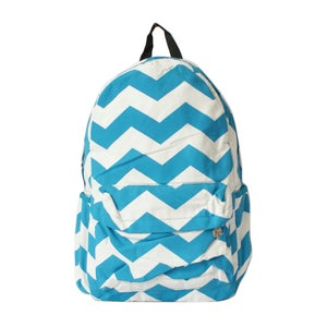 Image of Wave Contrast Color Canvas Backpack Blue
