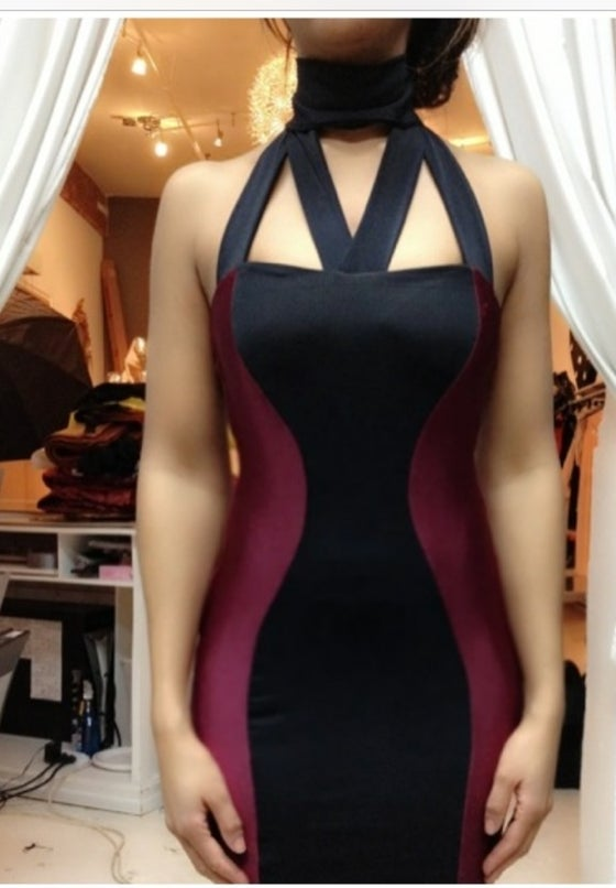 Image of Turtleneckline colorblock dress