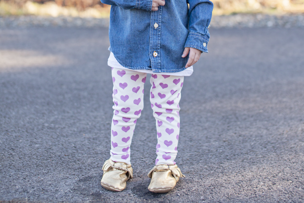 Image of ORGANIC COTTON Signature Heart CUFFED LEGGINGS - In Orchid