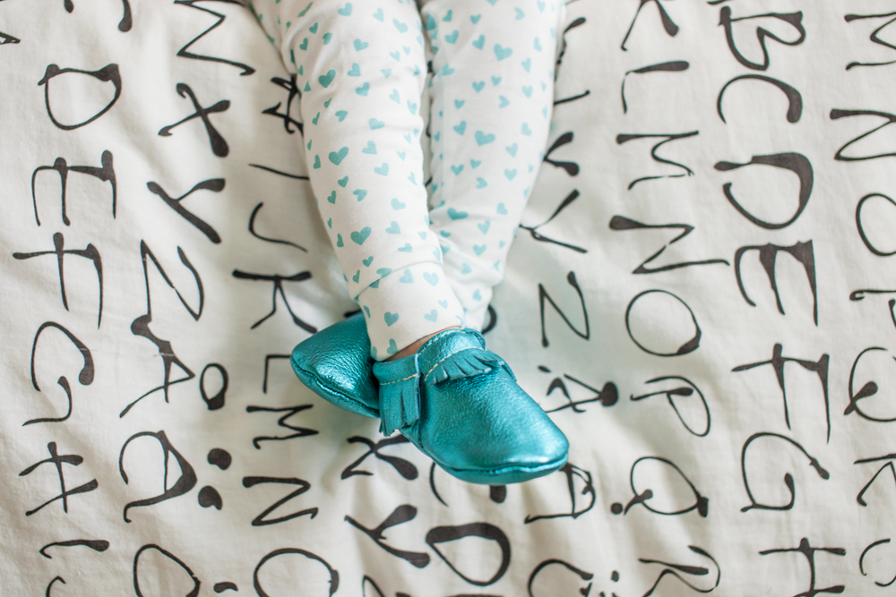 Image of ORGANIC COTTON Mint + WHITE MINI HEART CUFFED LEGGINGS
