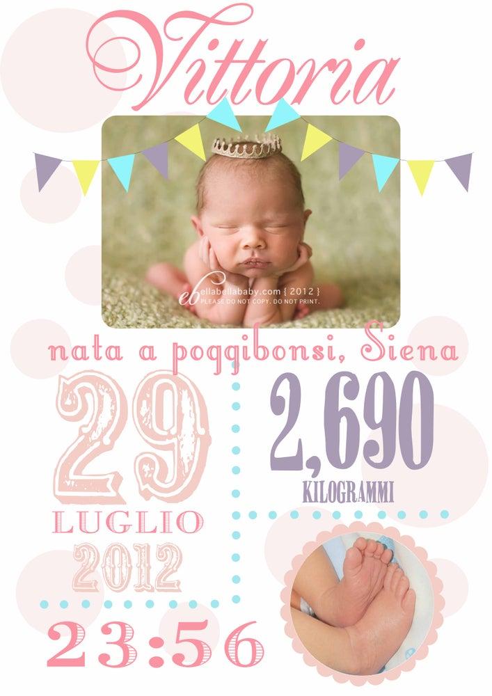 Image of Grafica dati nascita per cameretta con foto personalizzabile