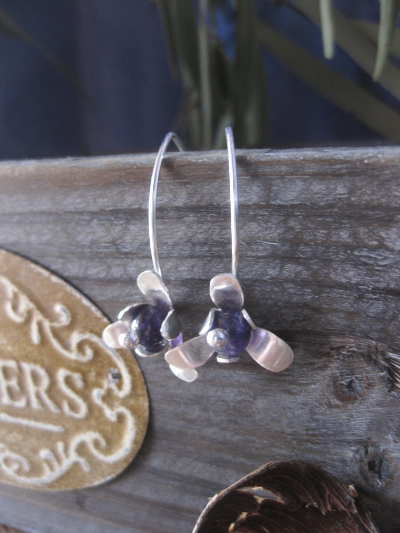 Image of Forged Trillion flower hook earrings in sterling silver with Amethyst stone beads