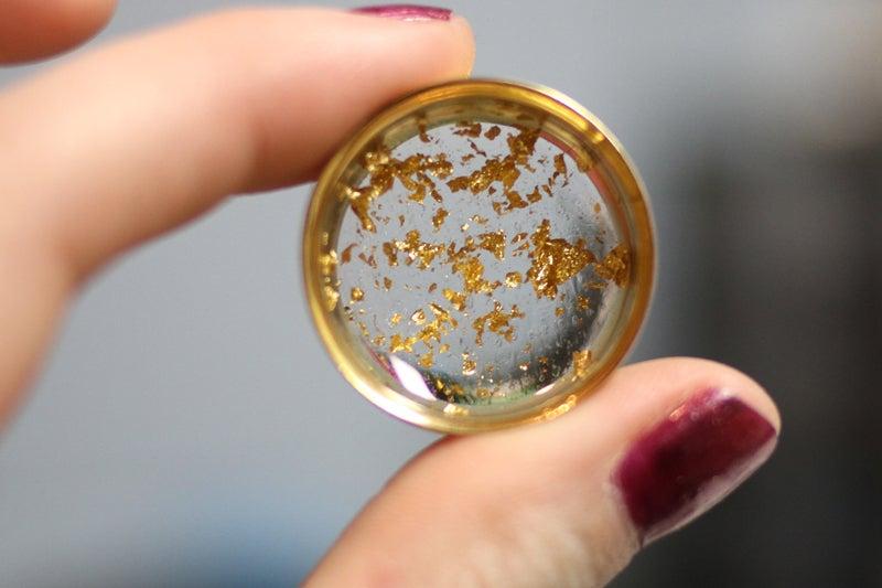 """Image of Gold Flake Plugs (sizes 0g-2"""")"""