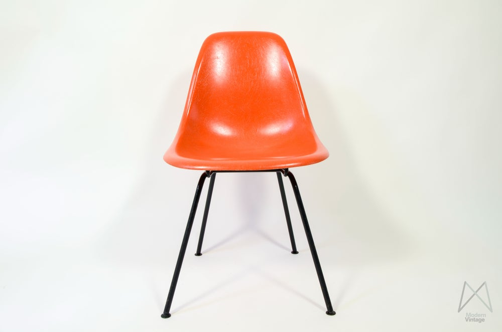 Image of Eames Herman Miller DSX DSR DSW red orange chaise polyester