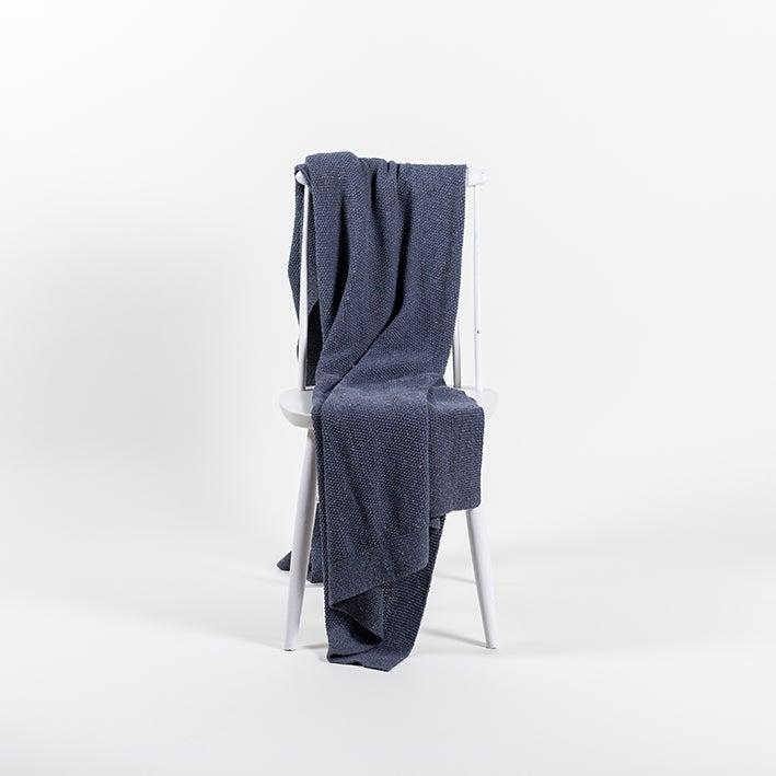 Image of Knitted Denim Throw Granite Blue