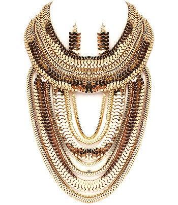Image of Herringbone Bib Necklace Earring Set