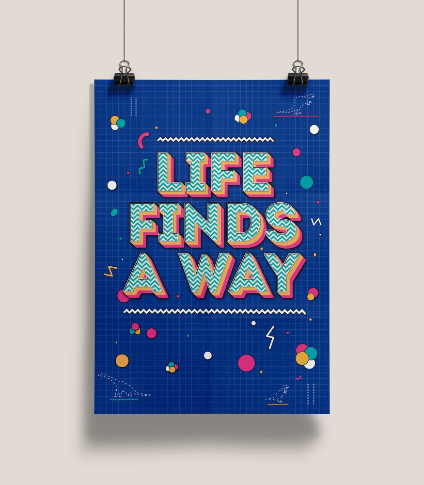 Image of Jurassic Park - Life Finds A Way print.