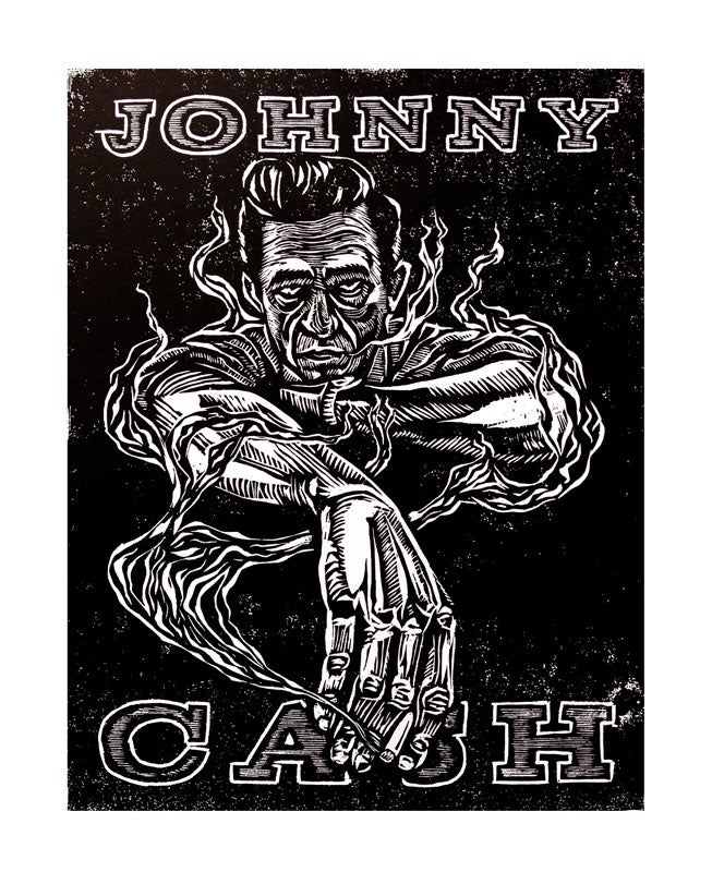 Image of Johnny Cash Woodcut