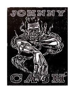 Image of Johnny Cash Woodcut