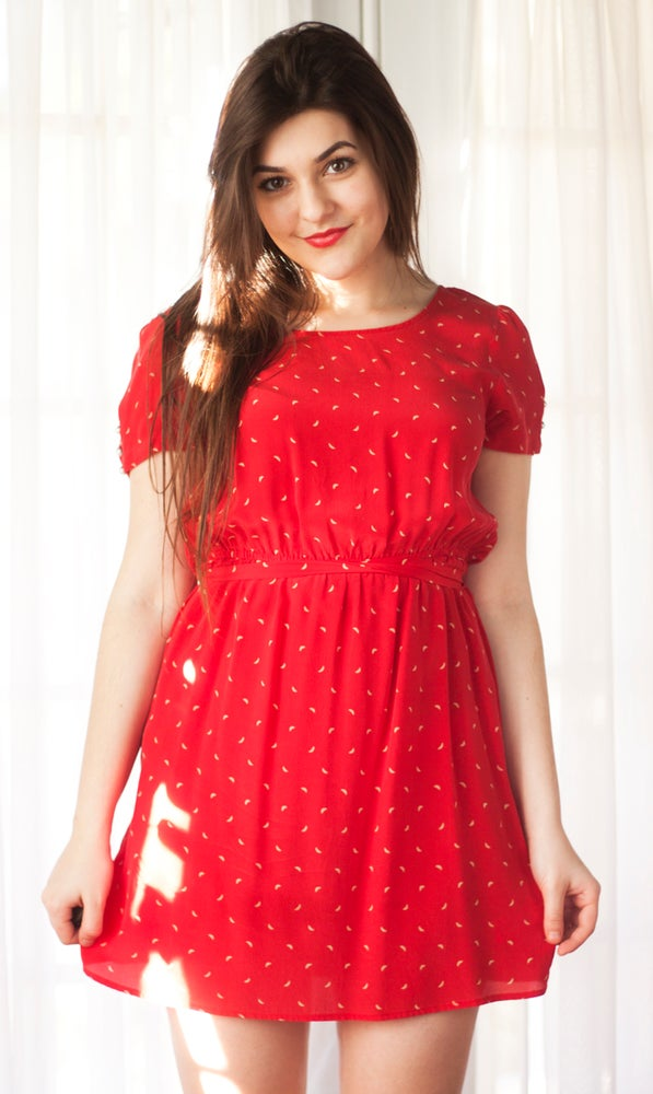 Image of Red + Gold Moon Print Dress