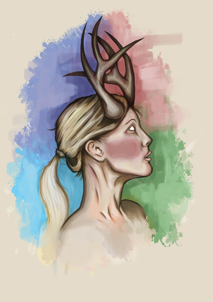 Image of Deer Woman A3 (16.5 x 11.7 inches) print