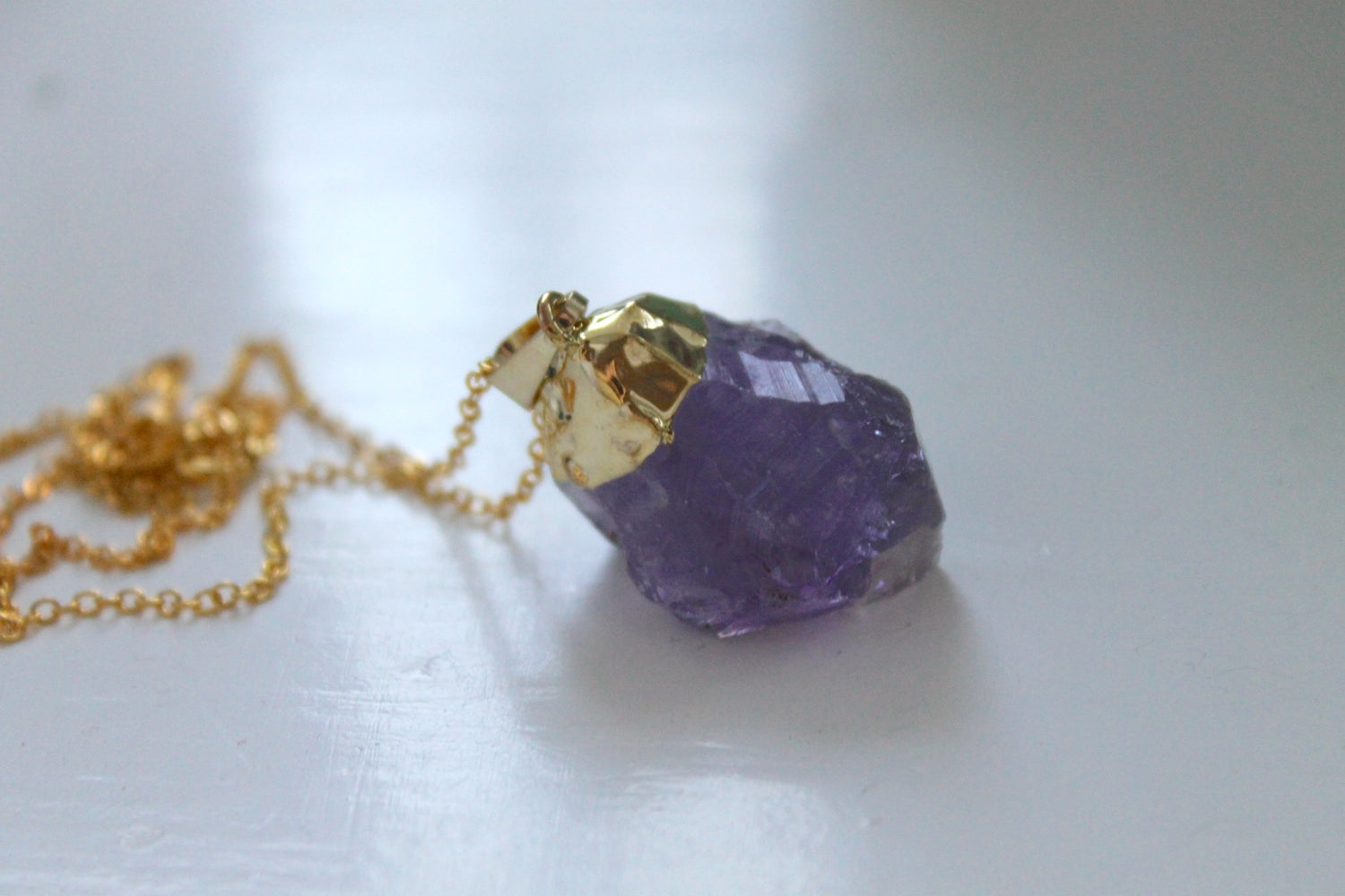 Image of Gold Dipped Amethyst Necklace