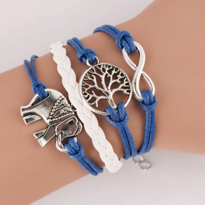 Image of Little elephant Blue Infinity Bracelet