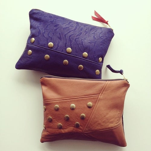 Image of *NEW* Edit Repurposed Leather Zip Clutch/Pouch {Cognac}