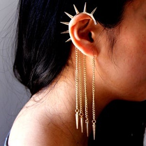 Image of Spikes Earring Cuff with Chains, SW267, Gold