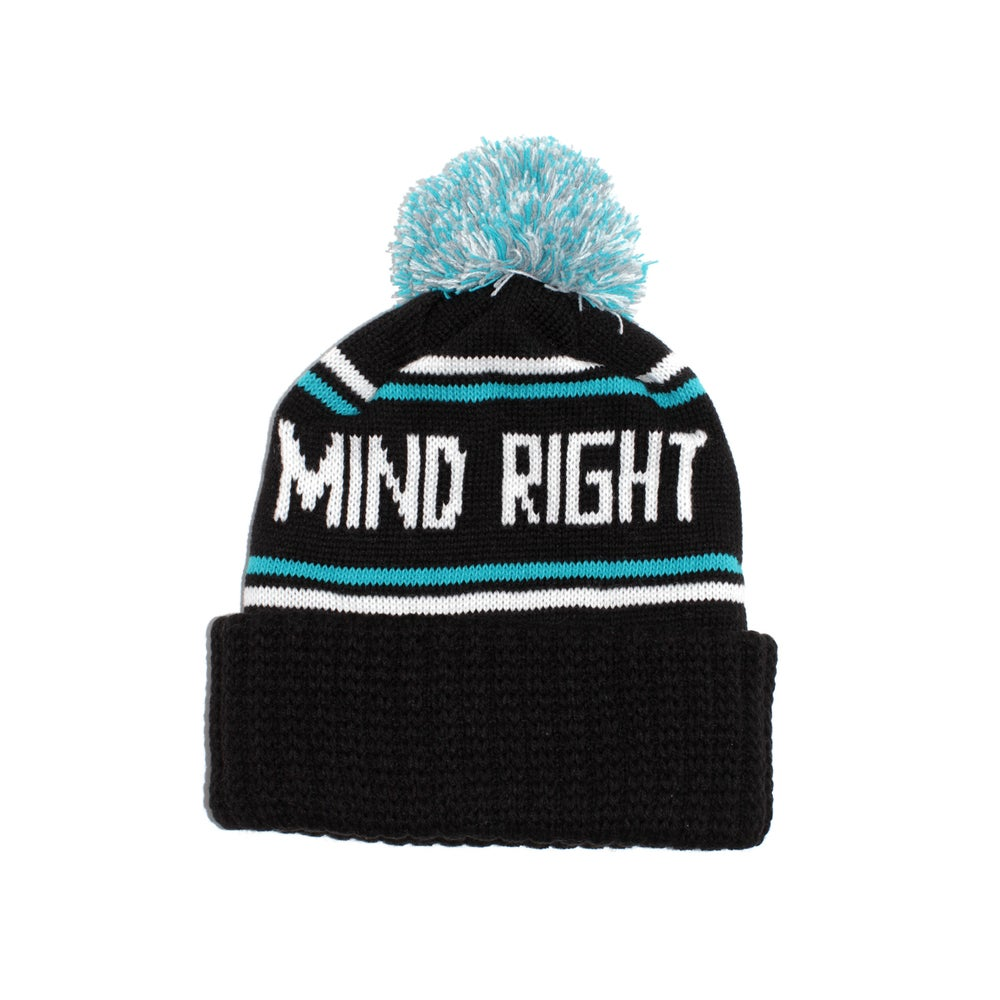Image of Pom Beanie Black/Teal/Gray