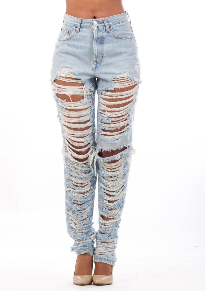 Image of Light Blue Top-Bottom Jeans
