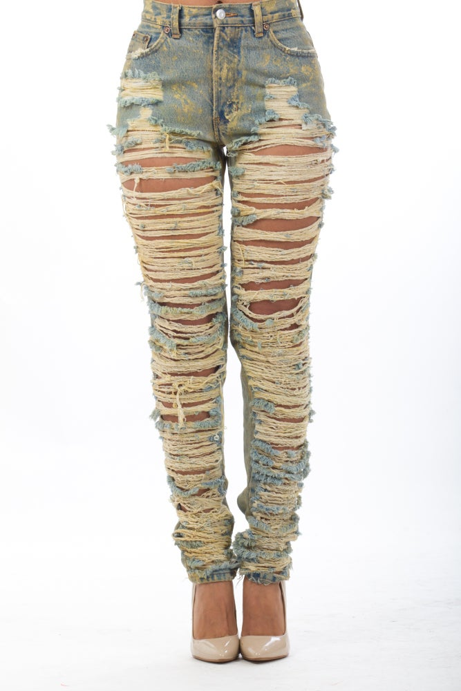 Image of Dirty Top-Bottom Jeans