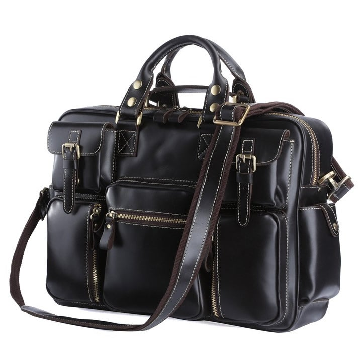 Image of Handmade Superior Leather Business Travel Bag / Tote / Messenger / Duffle Bag / Weekend Bag (n62-7)