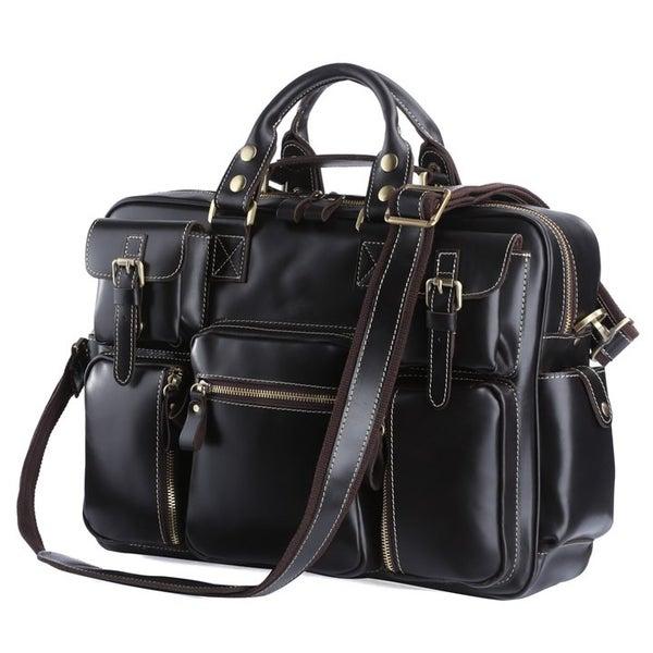 Image of Handmade Superior Leather Business Travel Bag / Tote / Messenger / Duffle Bag / Weekend Bag (n62-7)