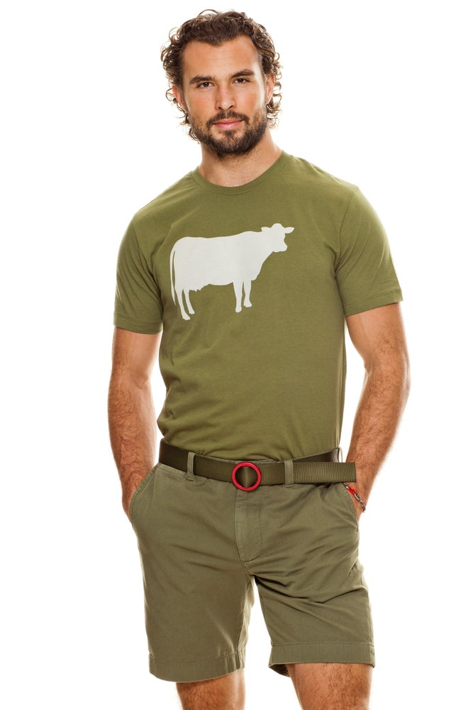 Image of guy's olive farm sanctuary cow tee