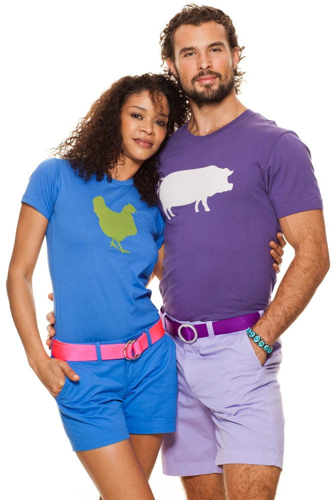 Image of girl's electric blue/green farm sanctuary chicken tee