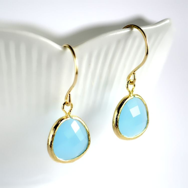 Image of Faceted glass earrings Sky blue