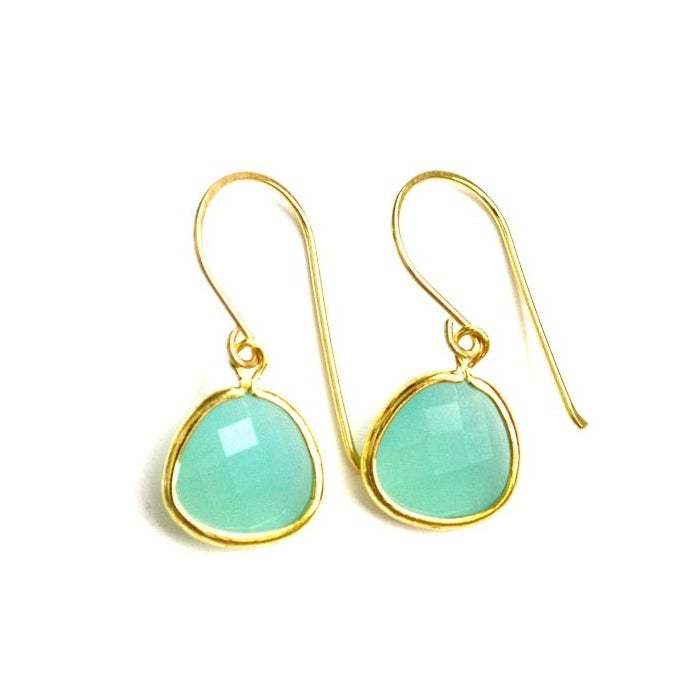 Image of Faceted glass earrings Seafoam