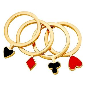 Image of Moschino Cheap and Chic Card Suit Ring Set New In Box