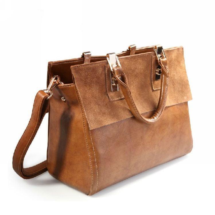 Image of Retro British Style Scrub Leather Handbag